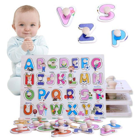 Wooden Letter Puzzle Jigsaw Early Learning Baby Kids Educational Toys