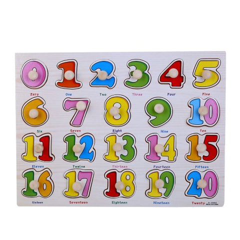 Wooden Numbers Puzzle Jigsaw Early Learning Baby Kids Educational Toys