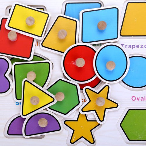 Wooden Shapes Puzzle Jigsaw Early Learning Baby Kids Educational Toys