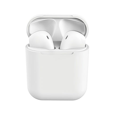 InPods12 TWS Wireless Bluetooth Headphone HiFi Headsets Super Bass Sound Earbuds with Mic for iOS Android - White