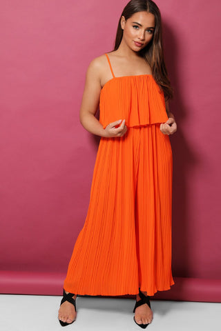 ORANGE LAYERED TOP PLEATED PALAZZO CAMI JUMPSUIT