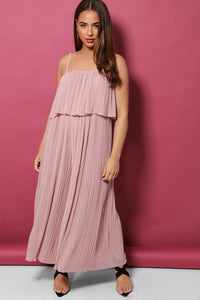 PINK LAYERED TOP PLEATED PALAZZO CAMI JUMPSUIT