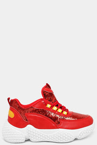 RED SEQUIN PANELS CHUNKY TRAINERS