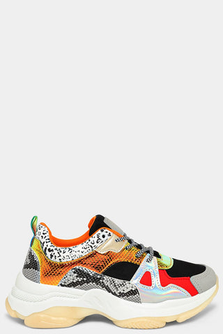 ORANGE MIXED ANIMAL PRINT PANELS CHUNKY TRAINERS
