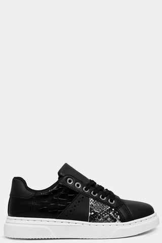 BLACK MOCK CROC AND PYTHON PANELS TRAINERS