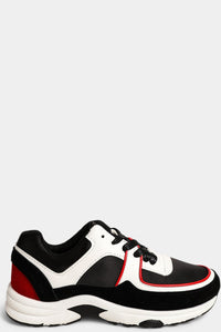 BLACK RED VEGAN SUEDE WHITE PLATFORM TRAINERS