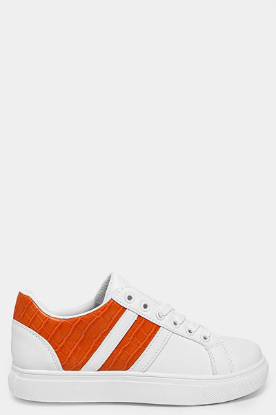 ORANGE MOCK CROC PANELS WHITE VEGAN LEATHER TRAINERS