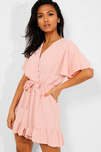 PINK SELF-BELT FRILL TRIMS WRAP BATWING PLAYSUIT