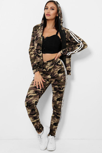 BEIGE CAMOUFLAGE PRINT 2 PIECE TRACKSUIT