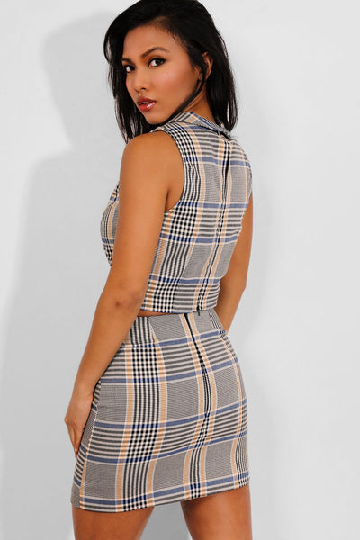 BEIGE CHECK PRINT SLEEVELESS CROP TOP AND MINI SKIRT SET