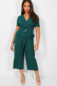 GREEN WRAP NECK BELTED CROPPED CULOTTE JUMPSUIT