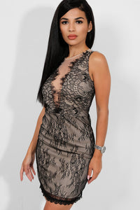 BLACK NUDE LACE ILLUSION BODYCON DRESS