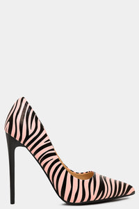 PINK VEGAN LEATHER ZEBRA PRINT STILETTO HEELS