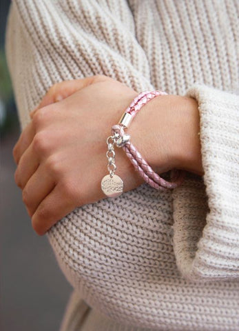 Pink Leather Rope Bracelet
