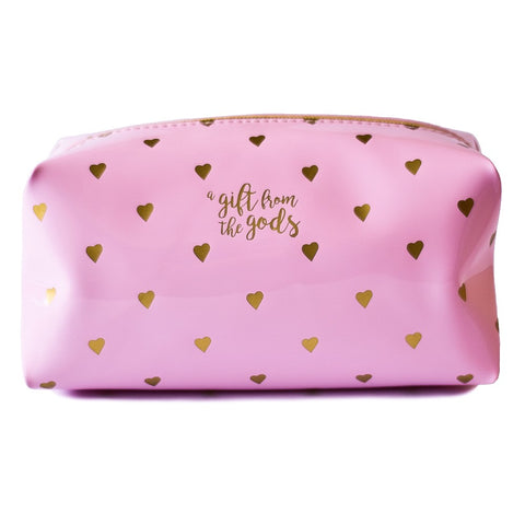 Calligraphy & Hearts Pink Square Cosmetic Bag