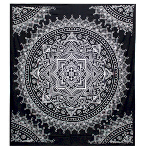 B&W Double Cotton Bedspread + Wall Hanging - Lotus Flower