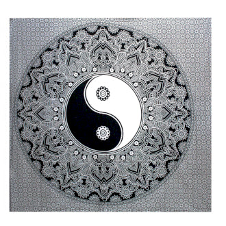 B&W Double Cotton Bedspread + Wall Hanging - Ying yang