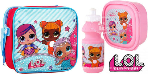 "Official L.O.L Surprise 3pc Lunch Bag with Shoulder Strap, Sports Bottle & Sandwich Container ""Perfect For School"""