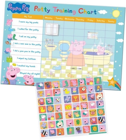 Official Peppa Pig Character Potty Training Reward Chart with 56 Reusable Stickers