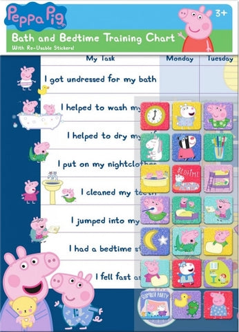 Official Peppa Pig Character Bath & Bedtime Reward Chart with 56 Reusable Stickers