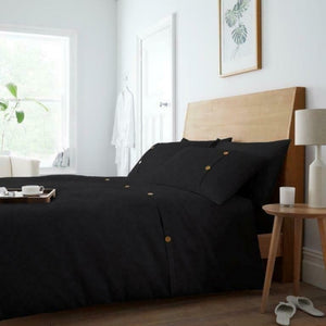 Luxury Premier Waffle Button Style Duvet Cover with Matching Pillow Case Bedding Set - Black