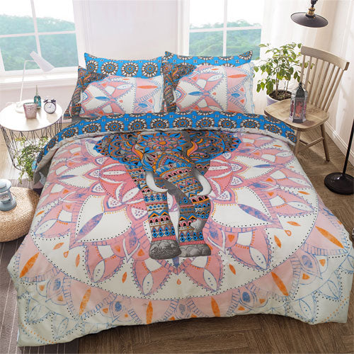 ELEPHANT MANDALA PINK/BLUE REVERSIBLE KING SIZE DUVET SET