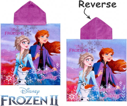 Official Disney Frozen 2 Magical Journey Character 100% Cotton Hooded Towel Poncho