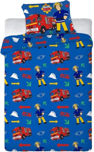 "Official Fireman Sam ""Reversible"" Single Duvet Cover with Matching Pillow Case Bedding Set"