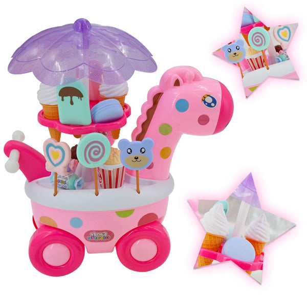 Sweet Shop Candy and Ice Cream Cart Play Set with LED Lights, Music and 20 Accessories (Giraffe)