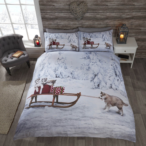 HUSKIES CHRISTMAS DUVET SET