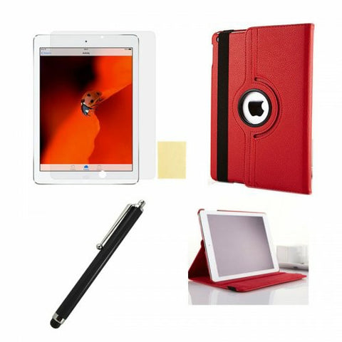 360 Rotation Case + Screen Film + Touch Screen Pen For iPad 5(Air) - Red