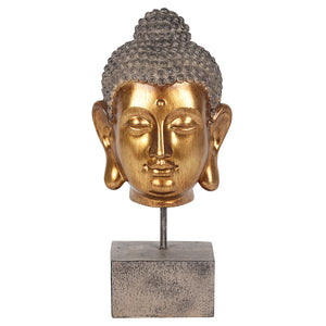 Gold Finish Buddha Head on Stand