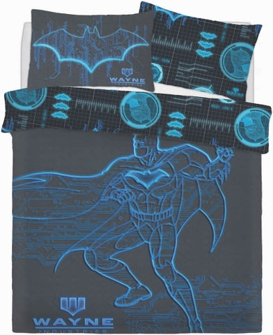 "Official Batman Wayne Industries ""Reversible"" Double Duvet Cover with Matching Pillow Cases - Double"