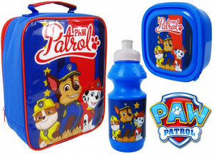 "Official PAW Patrol ""Chase, Marshall & Rubble"" 3pc Lunch Bag, Sports Bottle & Sandwich Container ""Perfect For School"""