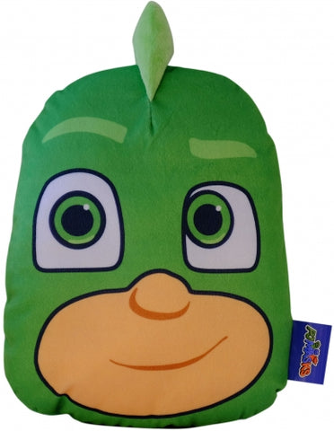 "Official PJ Masks ""Gekko"" 3D Character Plush Shaped Cushion with Pyjama Pouch Zip Pocket"