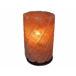 Cylinder Salt Lamp on Wooden Base