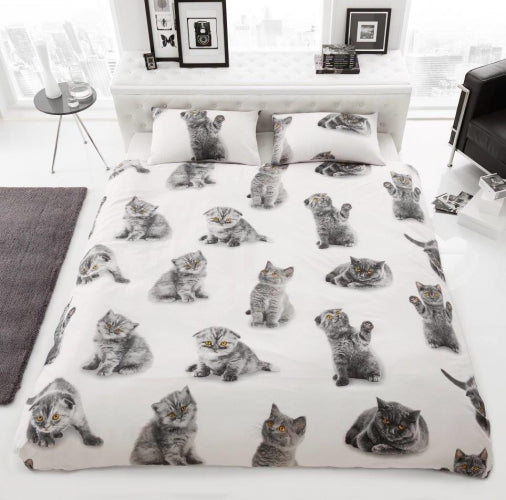 Luxury 3D Effect Cat Design Duvet Cover with Matching Pillow Case - Single