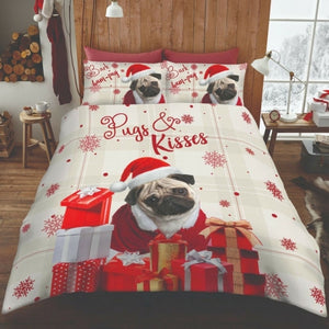 Luxury 3D Effect Christmas HumPug Design Duvet Cover with Matching Pillow Case Bedding Set