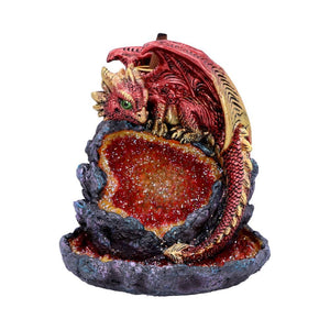 Crystalline Guardian Backflow Incense Burner14.2cm Crystalline Guardian Red Dragon Geode Backflow Incense Burner