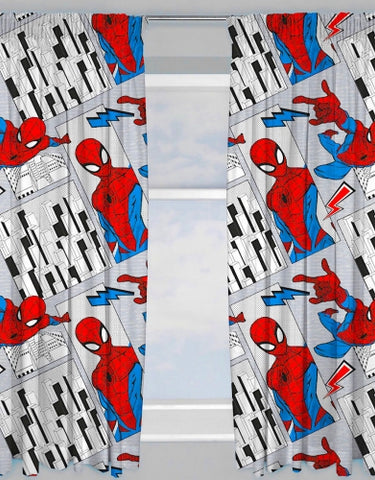 "Official Marvel Spider-Man ""Flight"" Character Ready Made Curtains 66"" x 72"""