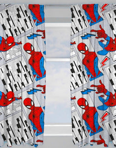 "Official Marvel Spider-Man ""Flight"" Character Ready Made Curtains 66"" x 54"""