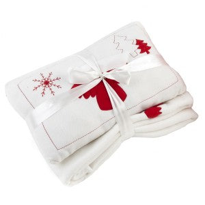 White Christmas Fleece Bundle - Throw and Filled Cushion