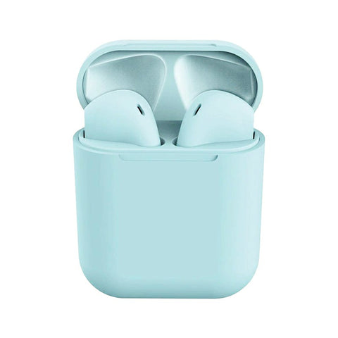 InPods12 TWS Wireless Bluetooth Headphone HiFi Headsets Super Bass Sound Earbuds with Mic for iOS Android - Blue