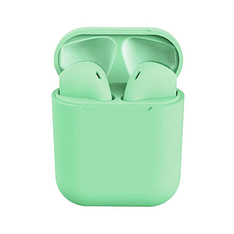 InPods12 TWS Wireless Bluetooth Headphone HiFi Headsets Super Bass Sound Earbuds with Mic for iOS Android - Green