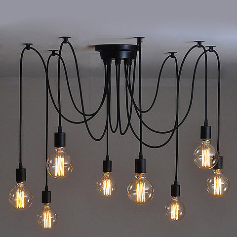 Vintage Industrial Style Chandelier Pendant Lights DIY Ceiling Lamp 8* Heads