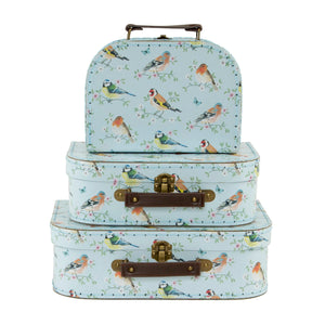 SET OF 3 GARDEN BIRDS SUITCASES (ready to post item)