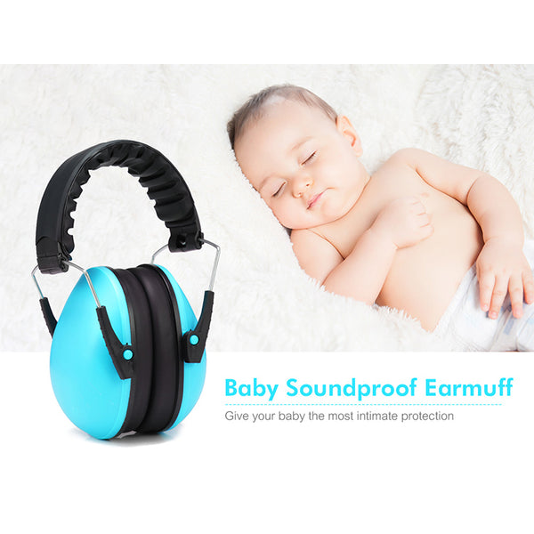 Baby and Childrens Adjustable Foldable Noise Reduction Protection Earmuffs - Blue