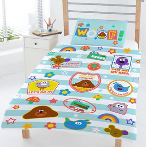 "Official Hey Duggee Hello Squirrels ""Reversible"" Junior, Toddler or Cot Duvet Cover Bedding Set"