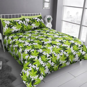 "Classic Marijuana Cannabis Leaf ""Reversible"" Duvet Cover with Matching Pillow Case Bedding Set - Double"
