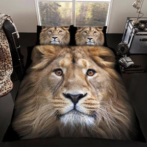 Luxury 3D Effect Lion Design Duvet Cover with Matching Pillow Case Bedding Set - Single